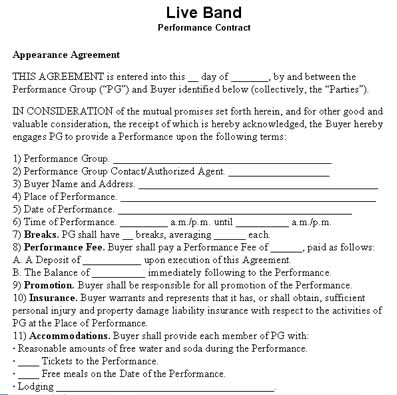 Download Live Band Performance Contract