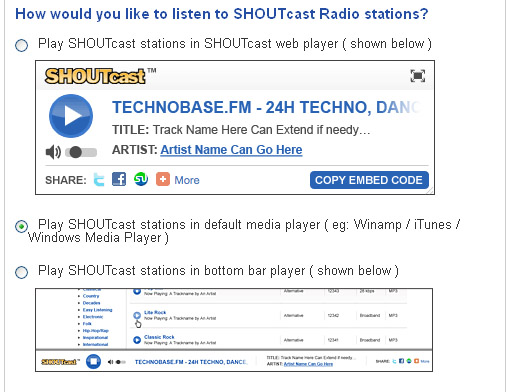 Shoutcast setting for default media player