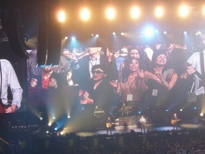 Yoko Ono, Sean Lennon, Olivia Harrison at Paul McCartney Concert Las Vegas June 10, 2011